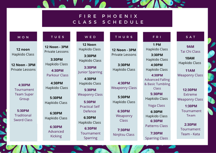 Black Phoenix and Adults Class Schedule (1)