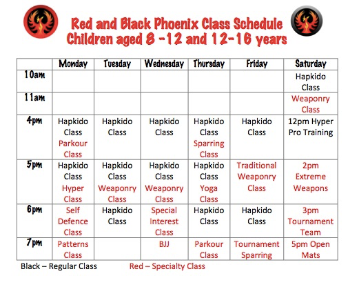 Red and Black Phoenix Timetable